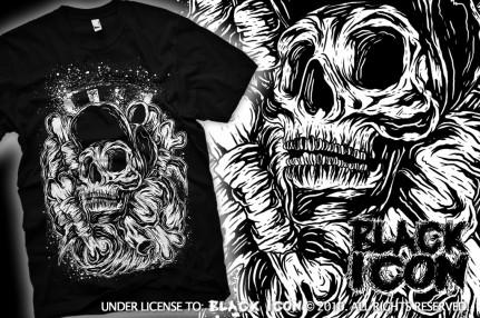 MICON035 BLACK - skate skull